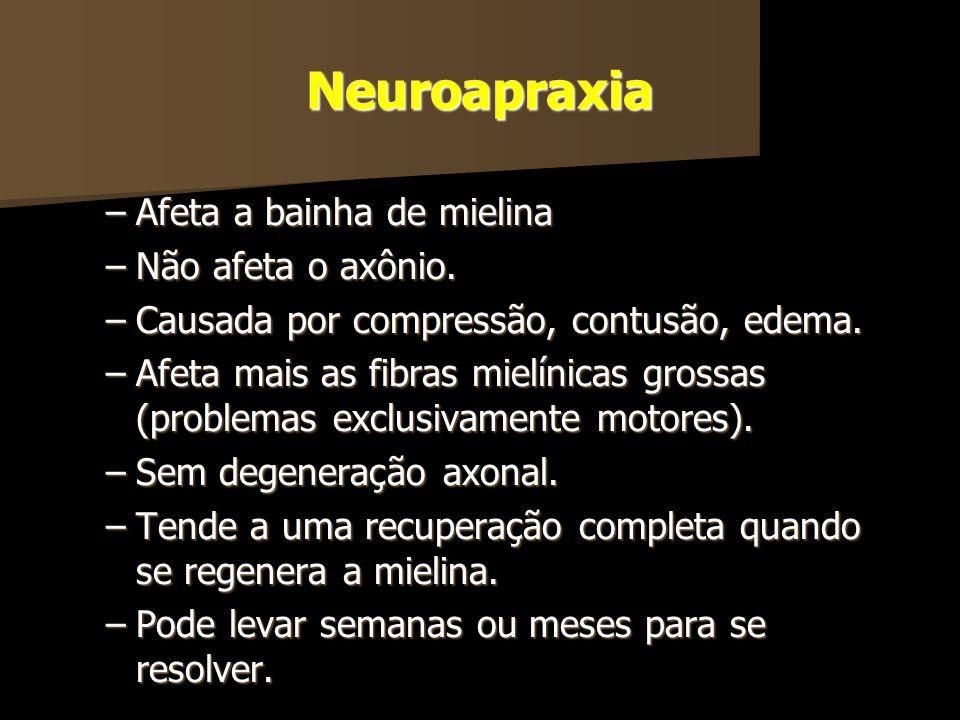 Neuroapraxia –Afeta a bainha de mielina –Não afeta o axônio. –Causada por compressão, contusão, edema. –Afeta mais as fibras mielínicas grossas (probl