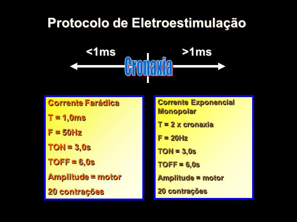 Protocolo de Eletroestimulação <1ms>1ms Corrente Farádica T = 1,0ms F = 50Hz TON = 3,0s TOFF = 6,0s Amplitude = motor 20 contrações Corrente Exponenci