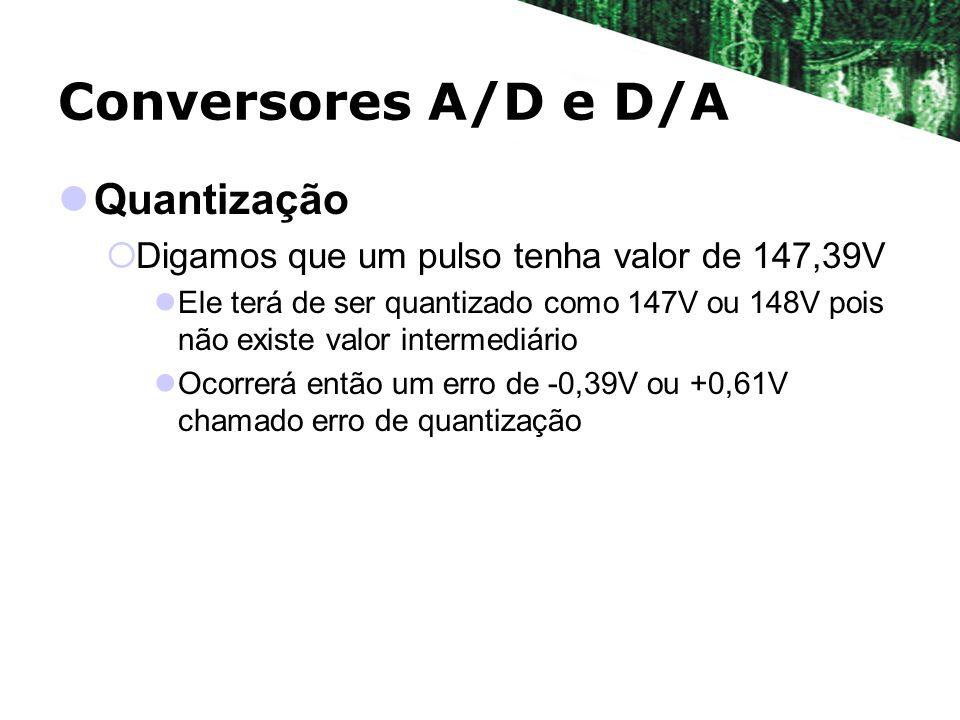 Conversores A/D e D/A Quantização Digamos que um pulso tenha valor de 147,39V Ele terá de ser quantizado como 147V ou 148V pois não existe valor inter