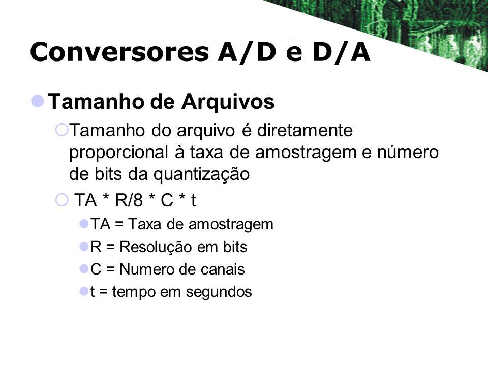 Conversores A/D e D/A Tamanho de Arquivos Tamanho do arquivo é diretamente proporcional à taxa de amostragem e número de bits da quantização TA * R/8