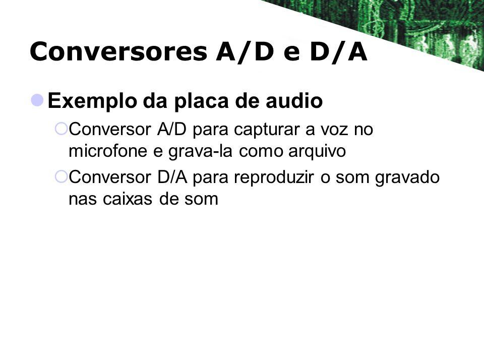 Conversores A/D e D/A Exemplo da placa de audio Conversor A/D para capturar a voz no microfone e grava-la como arquivo Conversor D/A para reproduzir o