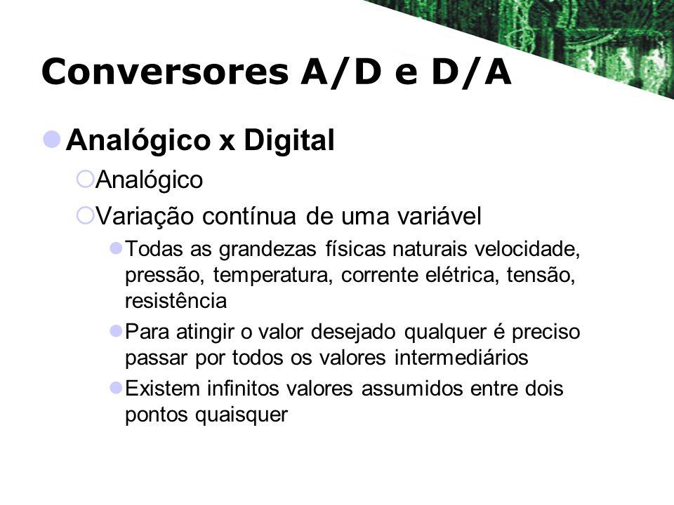 Conversores A/D e D/A Analógico x Digital Digital Variação discreta Passagem de um valor a outro se dá por saltos Existem finitos valores assumidos entre dois pontos quaisquer
