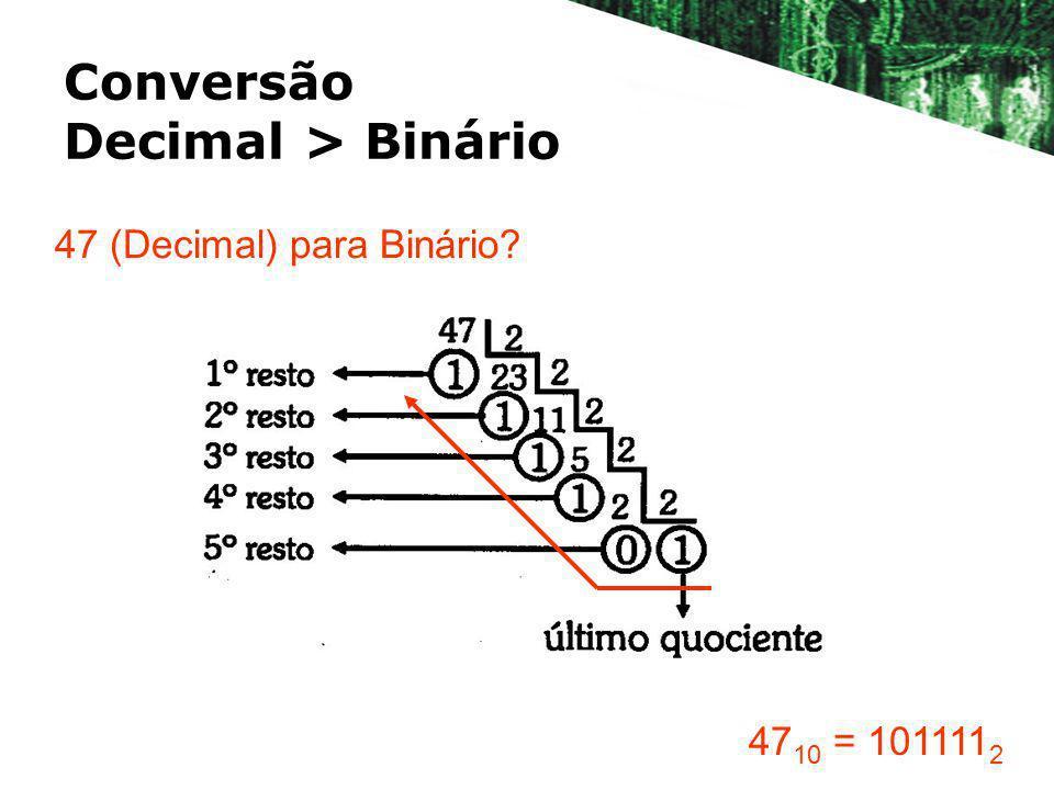 Conversão Decimal > Binário 47 (Decimal) para Binário? 47 10 = 101111 2