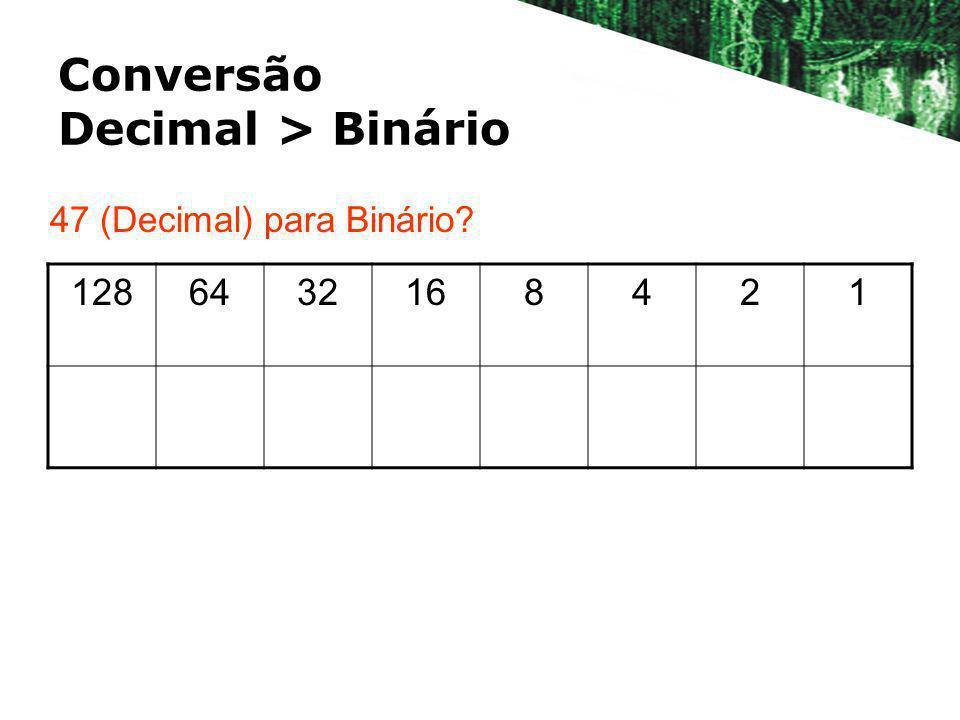 Conversão Decimal > Binário 1286432168421 47 (Decimal) para Binário?