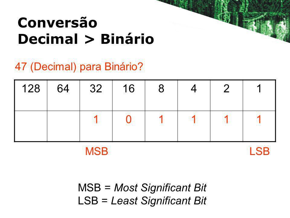 Conversão Decimal > Binário 1286432168421 101111 47 (Decimal) para Binário? LSBMSB MSB = Most Significant Bit LSB = Least Significant Bit