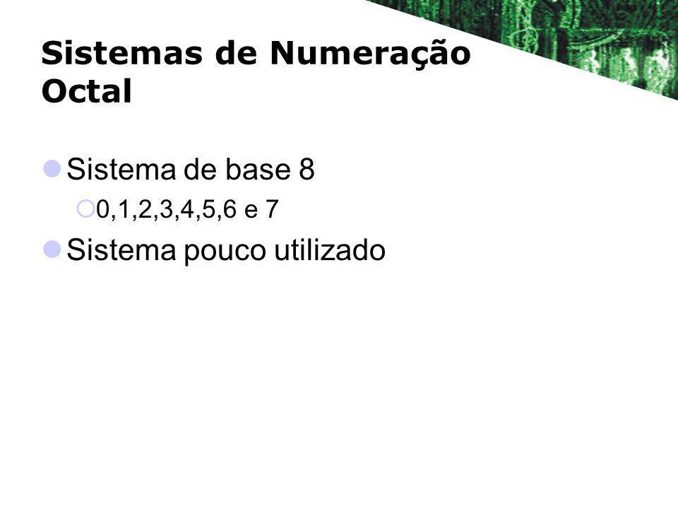 Sistemas de Numeração Octal Sistema de base 8 0,1,2,3,4,5,6 e 7 Sistema pouco utilizado