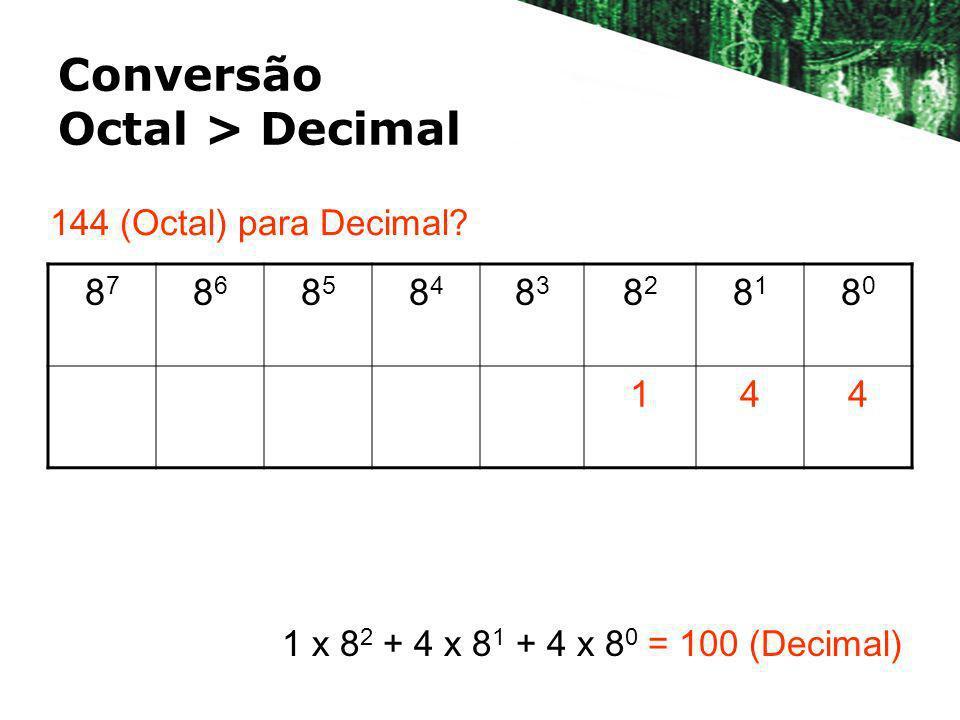 Conversão Octal > Decimal 8787 8686 8585 8484 8383 8282 8181 8080 144 144 (Octal) para Decimal? 1 x 8 2 + 4 x 8 1 + 4 x 8 0 = 100 (Decimal)