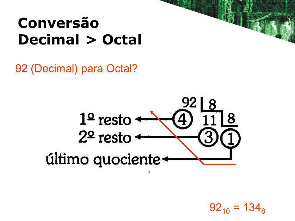 Conversão Decimal > Octal 92 (Decimal) para Octal? 92 10 = 134 8