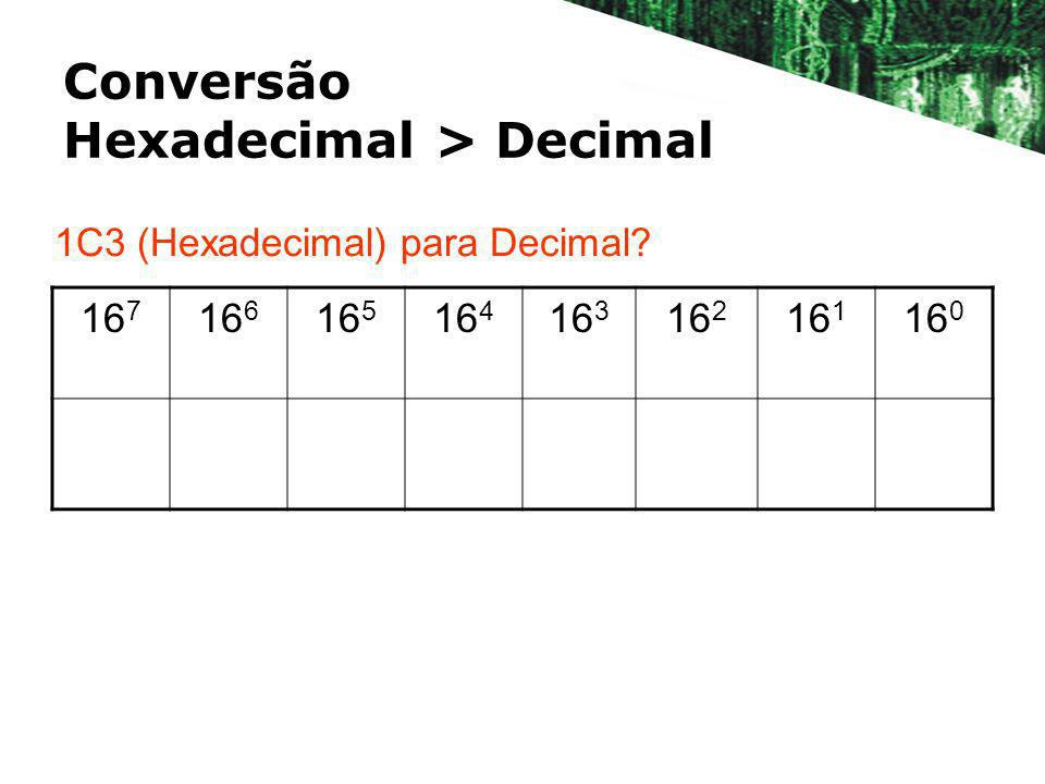 Conversão Hexadecimal > Decimal 16 7 16 6 16 5 16 4 16 3 16 2 16 1 16 0 1C3 (Hexadecimal) para Decimal?