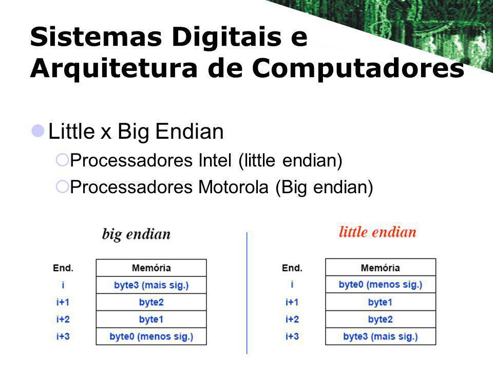 Sistemas Digitais e Arquitetura de Computadores Little x Big Endian Processadores Intel (little endian) Processadores Motorola (Big endian)