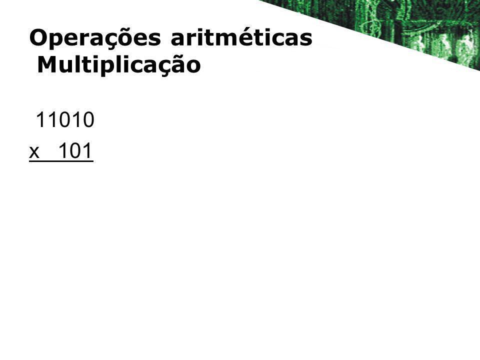 Operações aritméticas Multiplicação 11010 x 101