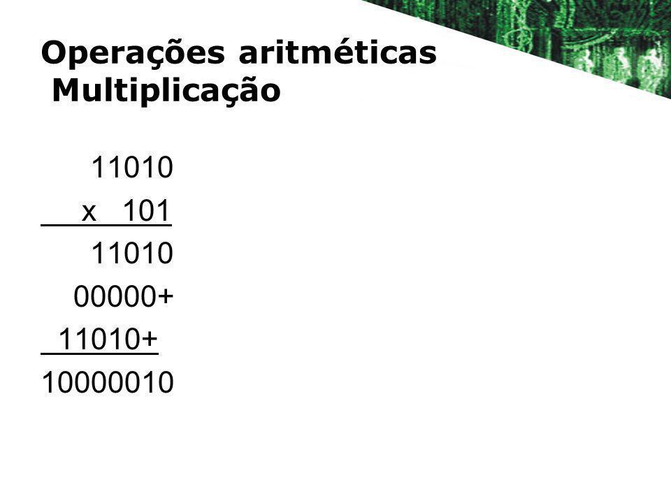 Operações aritméticas Multiplicação 11010 x 101 11010 00000+ 11010+ 10000010