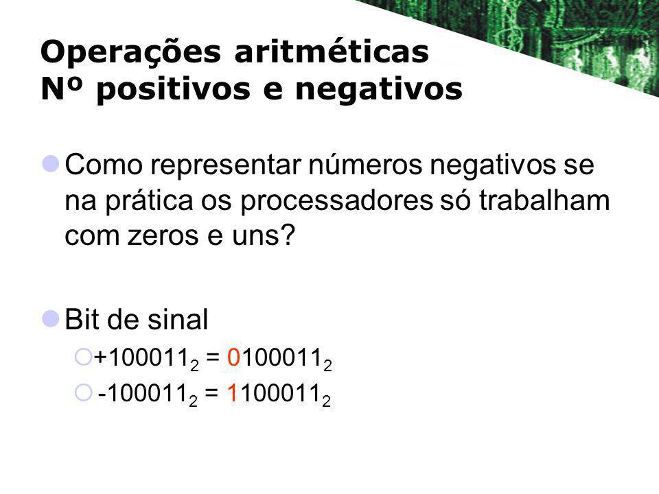 Operações aritméticas Nº positivos e negativos Como representar números negativos se na prática os processadores só trabalham com zeros e uns? Bit de