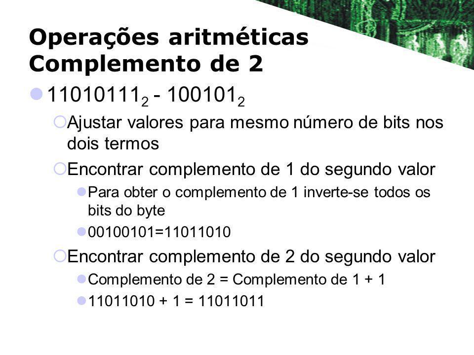 Operações aritméticas Complemento de 2 11010111 2 - 100101 2 Ajustar valores para mesmo número de bits nos dois termos Encontrar complemento de 1 do s