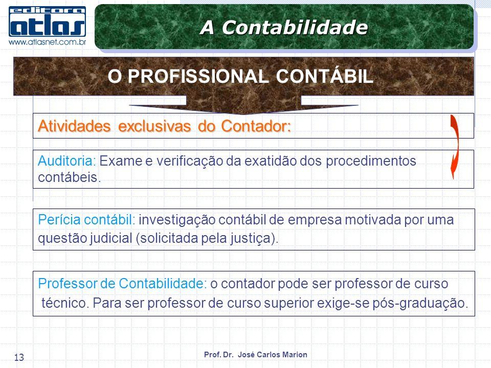 Prof. Dr. José Carlos Marion 13 Atividades exclusivas do Contador: Auditoria: Exame e verificação da exatidão dos procedimentos contábeis. Perícia con