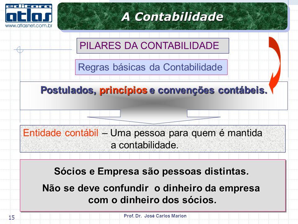 Prof. Dr. José Carlos Marion 15 PILARES DA CONTABILIDADE Regras básicas da Contabilidade Entidade contábil – Uma pessoa para quem é mantida a contabil