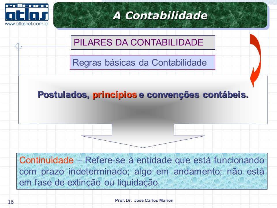 Prof. Dr. José Carlos Marion 16 Continuidade – Refere-se à entidade que está funcionando com prazo indeterminado; algo em andamento; não está em fase