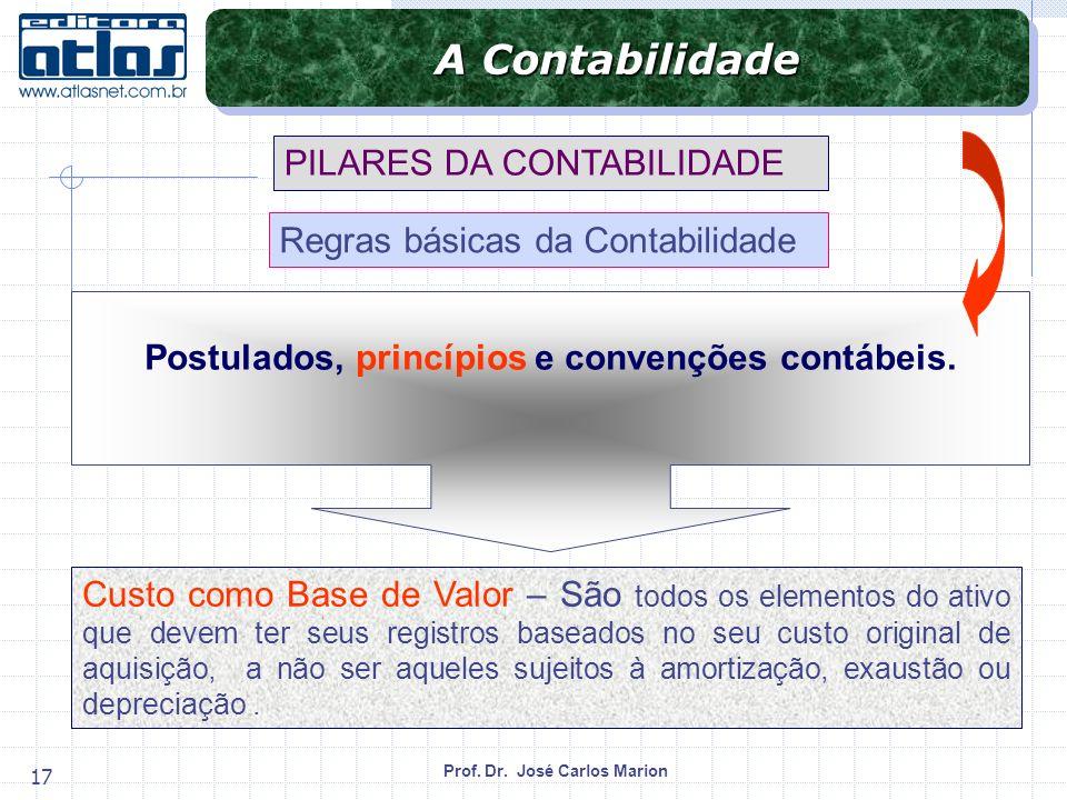 Prof. Dr. José Carlos Marion 17 Custo como Base de Valor – São todos os elementos do ativo que devem ter seus registros baseados no seu custo original