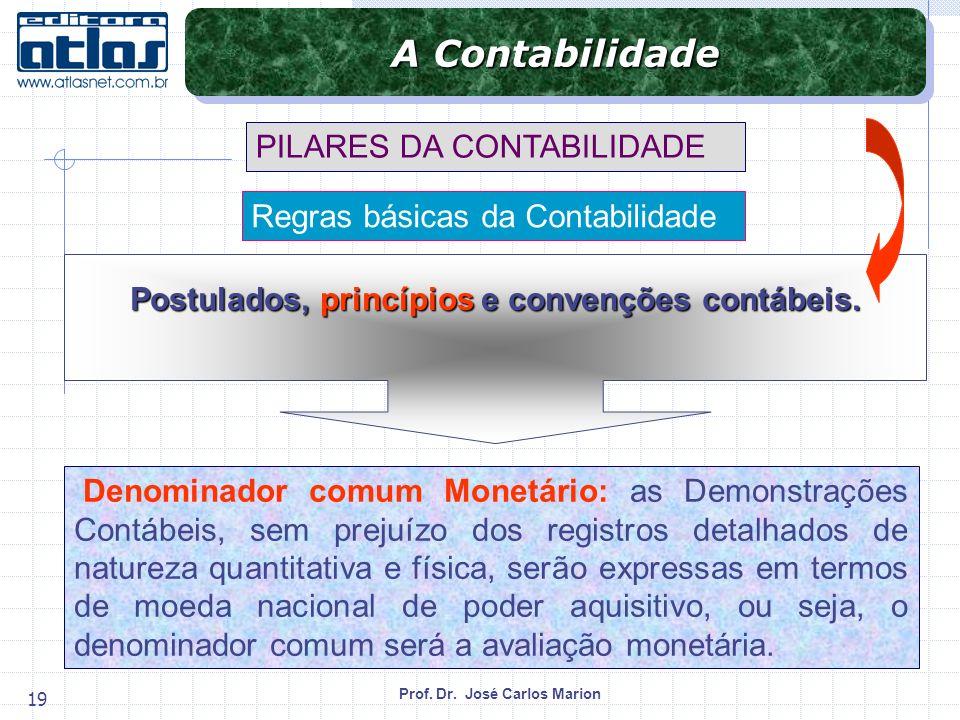 Prof. Dr. José Carlos Marion 19 Denominador comum Monetário: as Demonstrações Contábeis, sem prejuízo dos registros detalhados de natureza quantitativ