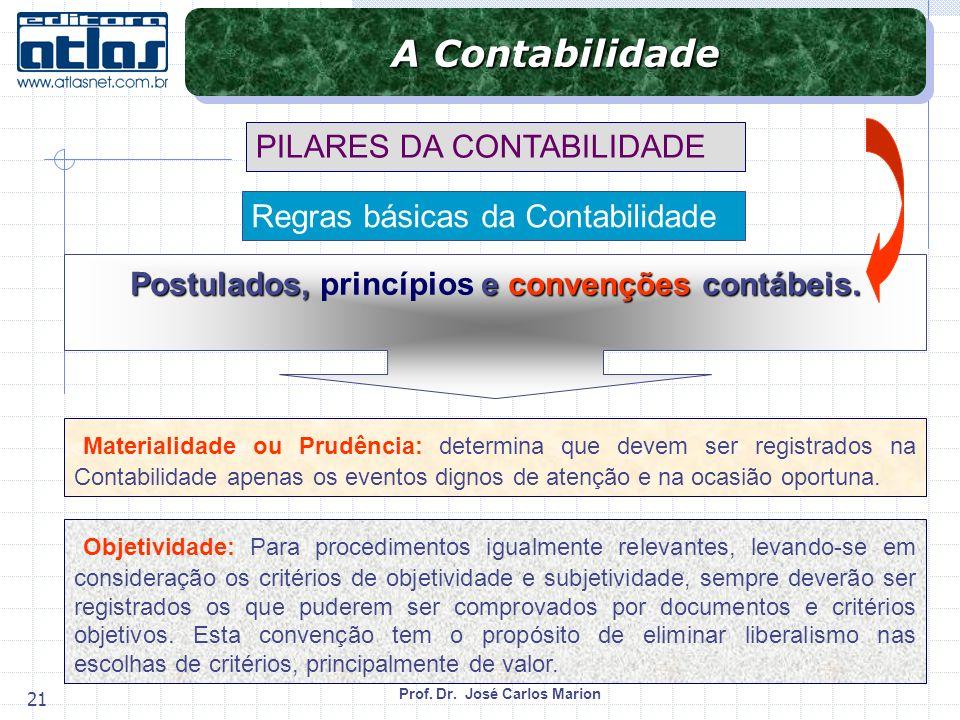 Prof. Dr. José Carlos Marion 21 Materialidade ou Prudência: determina que devem ser registrados na Contabilidade apenas os eventos dignos de atenção e