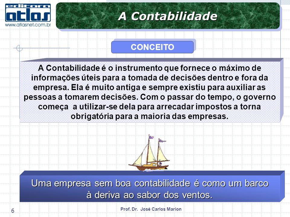 Prof. Dr. José Carlos Marion 6 A Contabilidade é o instrumento que fornece o máximo de informações úteis para a tomada de decisões dentro e fora da em