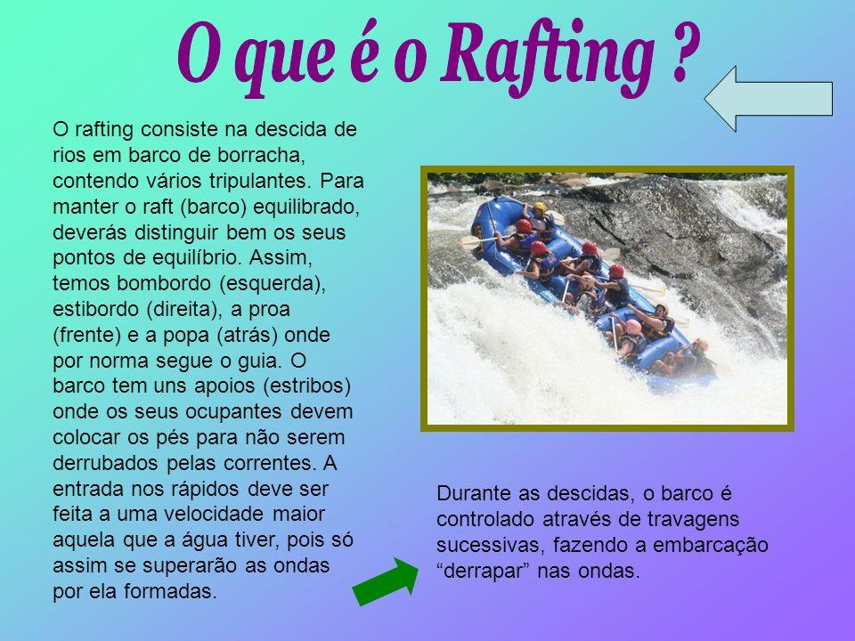 O rafting consiste na descida de rios em barco de borracha, contendo vários tripulantes. Para manter o raft (barco) equilibrado, deverás distinguir be