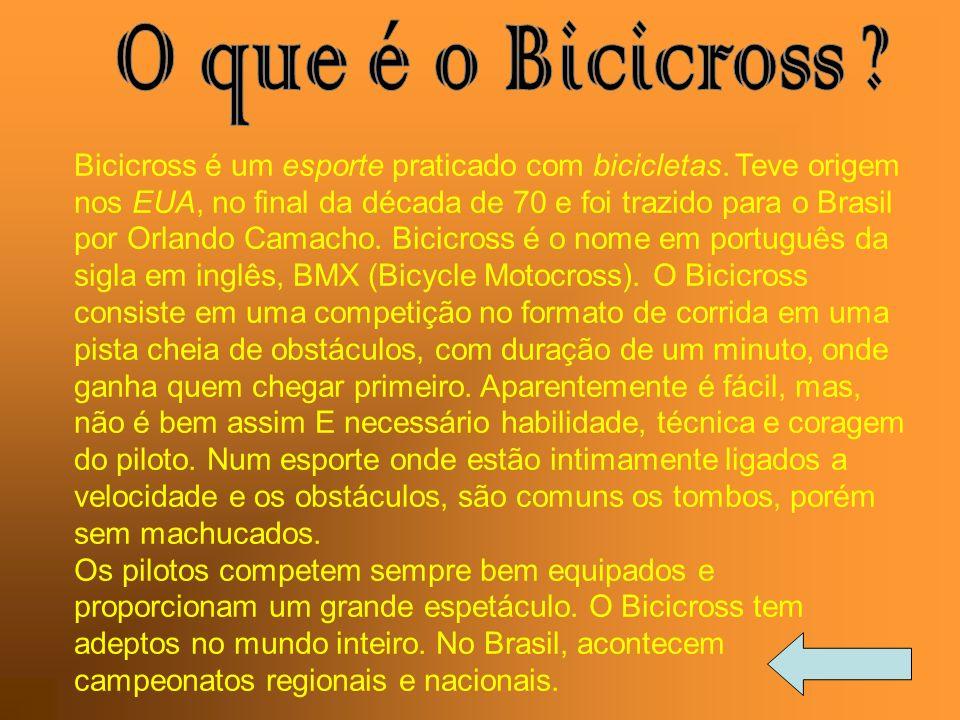 Bicicross é um esporte praticado com bicicletas. Teve origem nos EUA, no final da década de 70 e foi trazido para o Brasil por Orlando Camacho. Bicicr