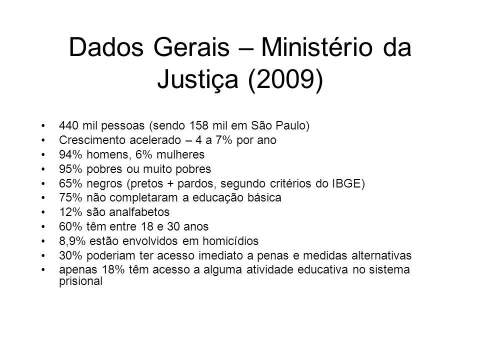 Dados Gerais – Ministério da Justiça (2009) 440 mil pessoas (sendo 158 mil em São Paulo) Crescimento acelerado – 4 a 7% por ano 94% homens, 6% mulhere