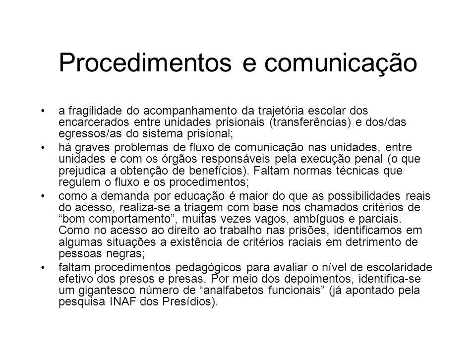 Procedimentos e comunicação a fragilidade do acompanhamento da trajetória escolar dos encarcerados entre unidades prisionais (transferências) e dos/da