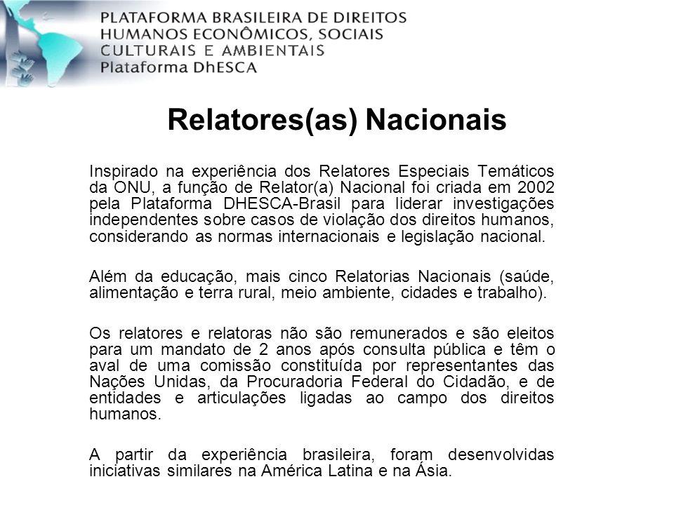 Relatores(as) Nacionais Inspirado na experiência dos Relatores Especiais Temáticos da ONU, a função de Relator(a) Nacional foi criada em 2002 pela Pla