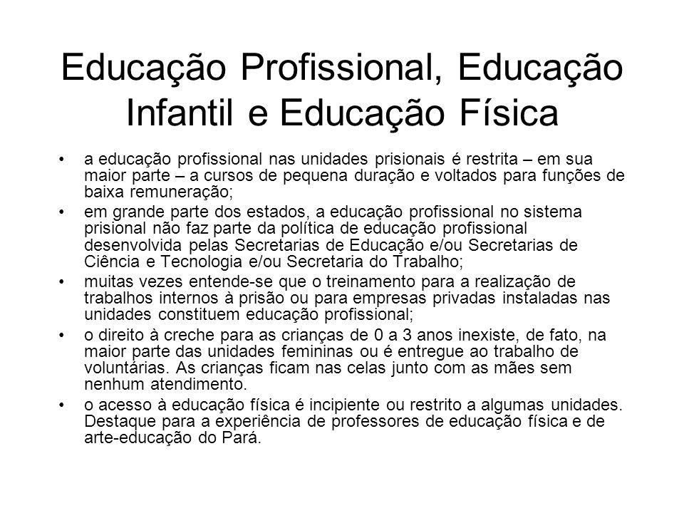 Educação Profissional, Educação Infantil e Educação Física a educação profissional nas unidades prisionais é restrita – em sua maior parte – a cursos