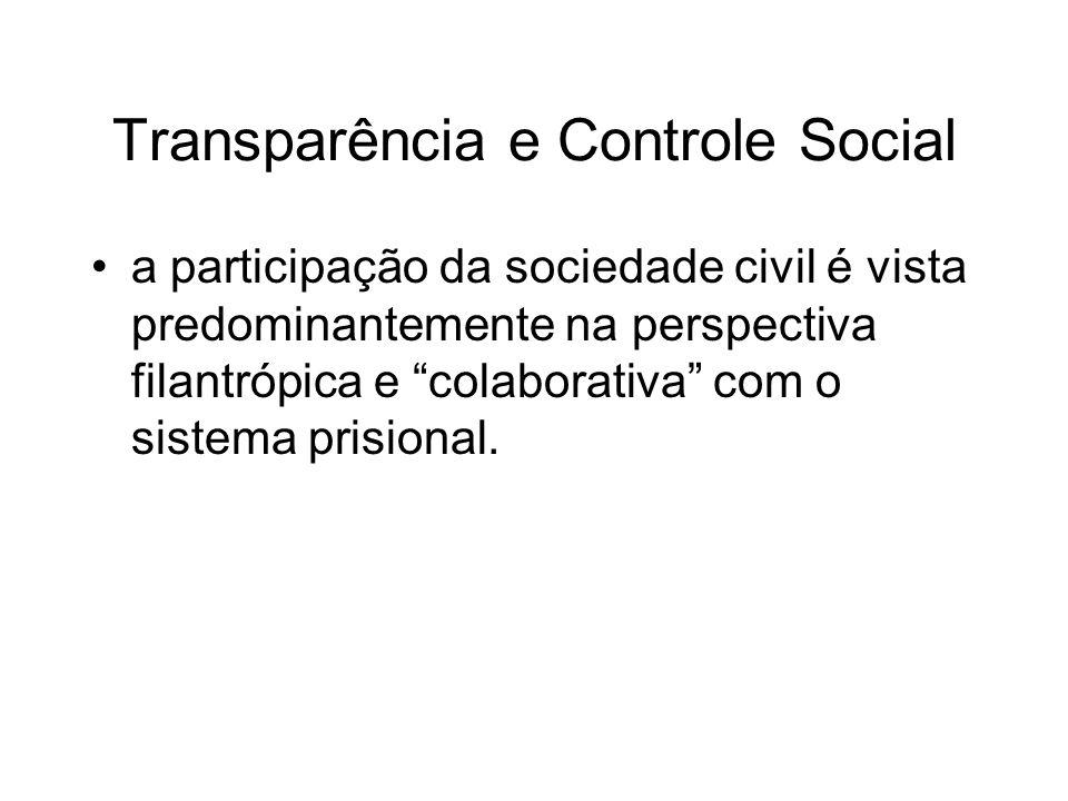 Transparência e Controle Social a participação da sociedade civil é vista predominantemente na perspectiva filantrópica e colaborativa com o sistema p