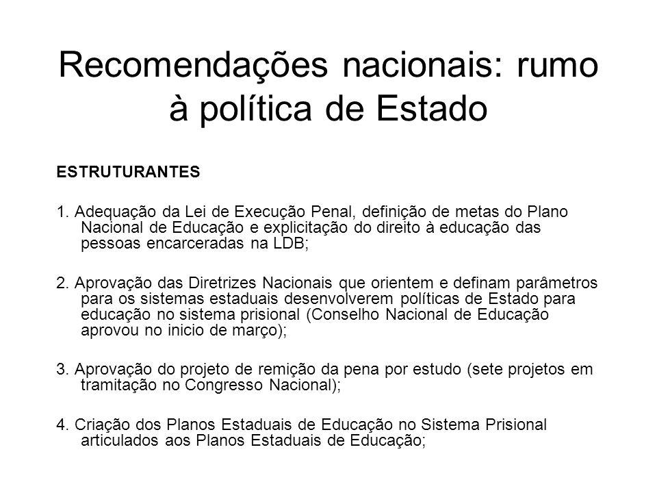Recomendações nacionais: rumo à política de Estado ESTRUTURANTES 1. Adequação da Lei de Execução Penal, definição de metas do Plano Nacional de Educaç