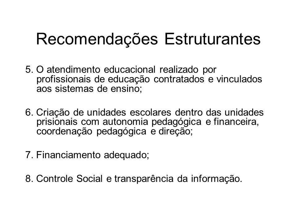 Recomendações Estruturantes 5. O atendimento educacional realizado por profissionais de educação contratados e vinculados aos sistemas de ensino; 6. C