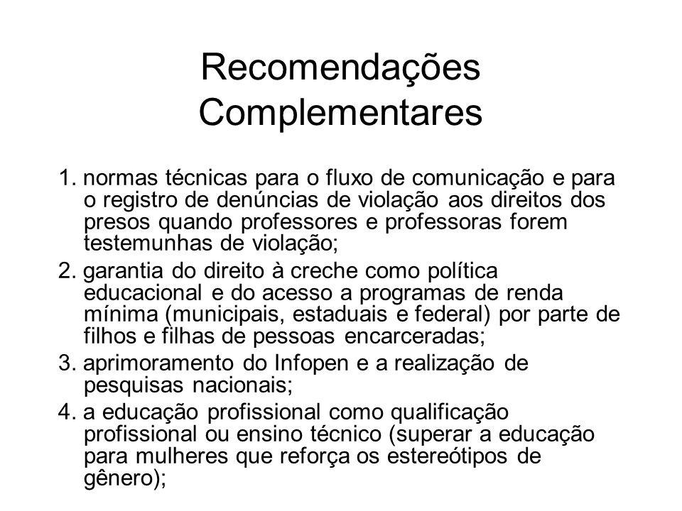 Recomendações Complementares 1. normas técnicas para o fluxo de comunicação e para o registro de denúncias de violação aos direitos dos presos quando