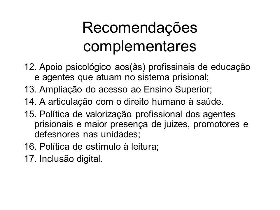 Recomendações complementares 12. Apoio psicológico aos(às) profissinais de educação e agentes que atuam no sistema prisional; 13. Ampliação do acesso