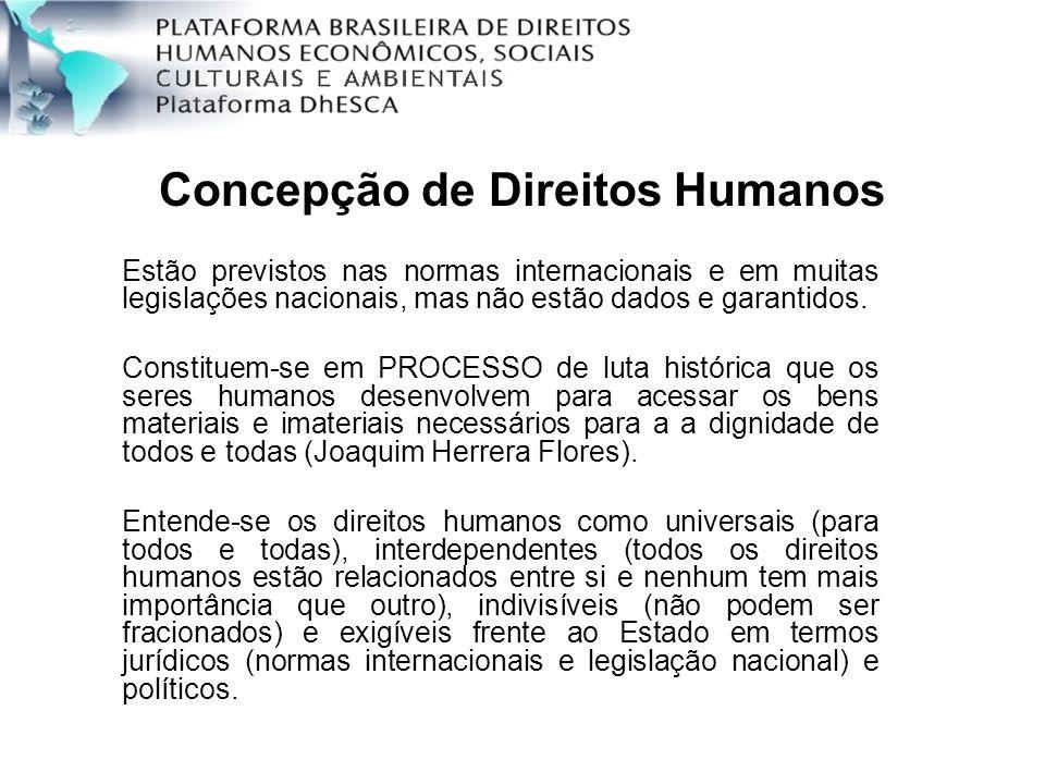 Concepção de Direitos Humanos Estão previstos nas normas internacionais e em muitas legislações nacionais, mas não estão dados e garantidos. Constitue