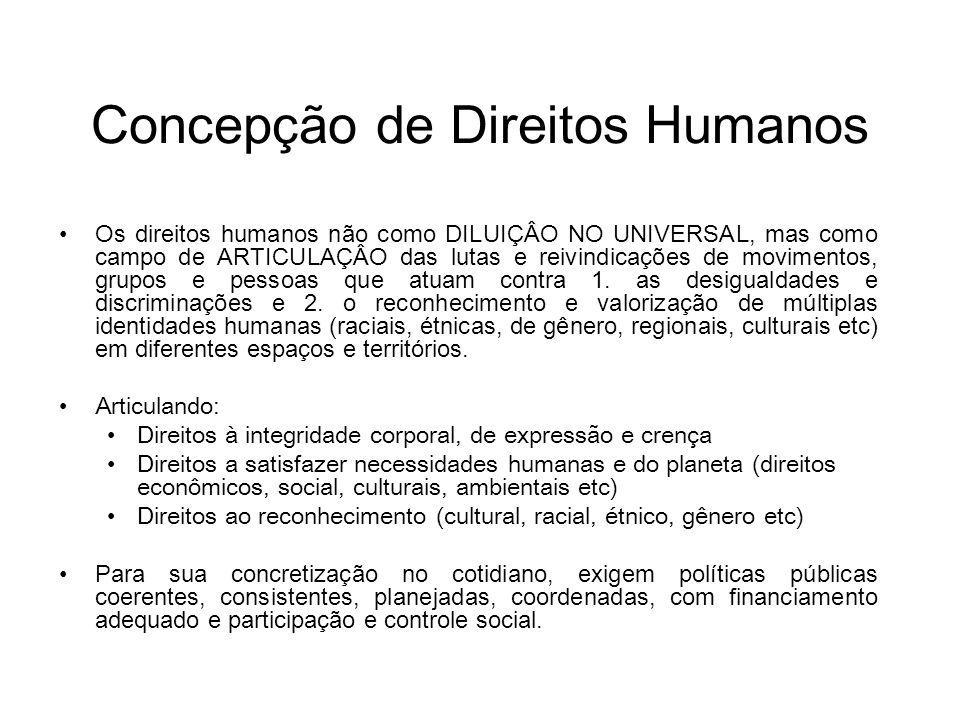 Concepção de Direitos Humanos Os direitos humanos não como DILUIÇÂO NO UNIVERSAL, mas como campo de ARTICULAÇÂO das lutas e reivindicações de moviment