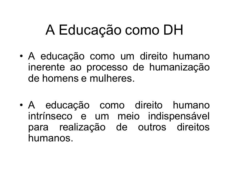 A Educação como DH A educação como um direito humano inerente ao processo de humanização de homens e mulheres. A educação como direito humano intrínse