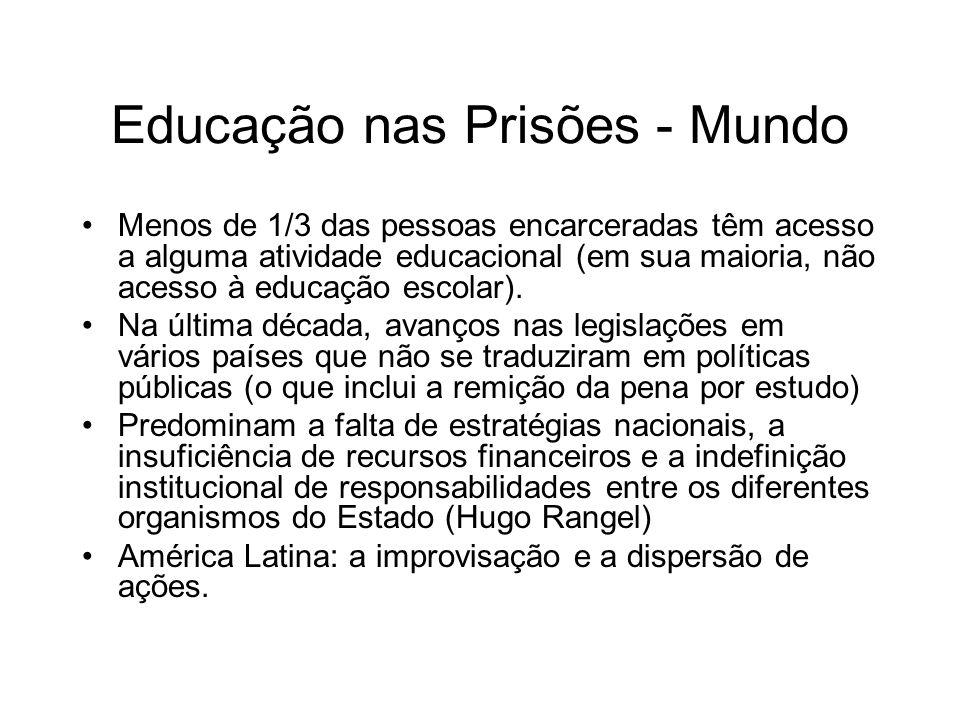 Educação nas Prisões - Mundo Menos de 1/3 das pessoas encarceradas têm acesso a alguma atividade educacional (em sua maioria, não acesso à educação es