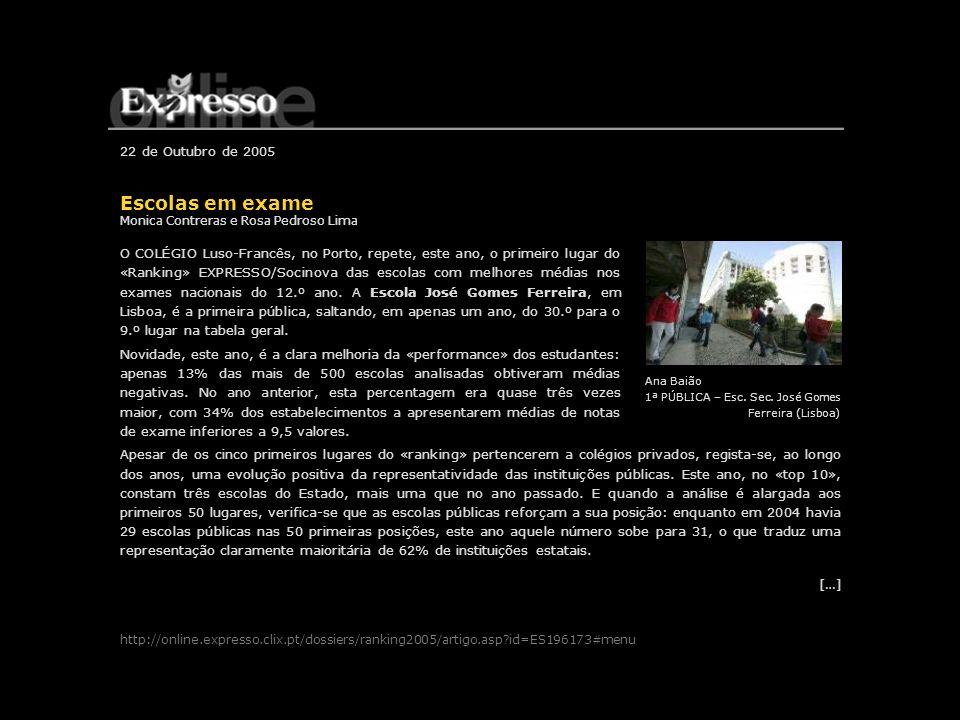 22 de Outubro de 2005 Escolas em exame Monica Contreras e Rosa Pedroso Lima O COLÉGIO Luso-Francês, no Porto, repete, este ano, o primeiro lugar do «R
