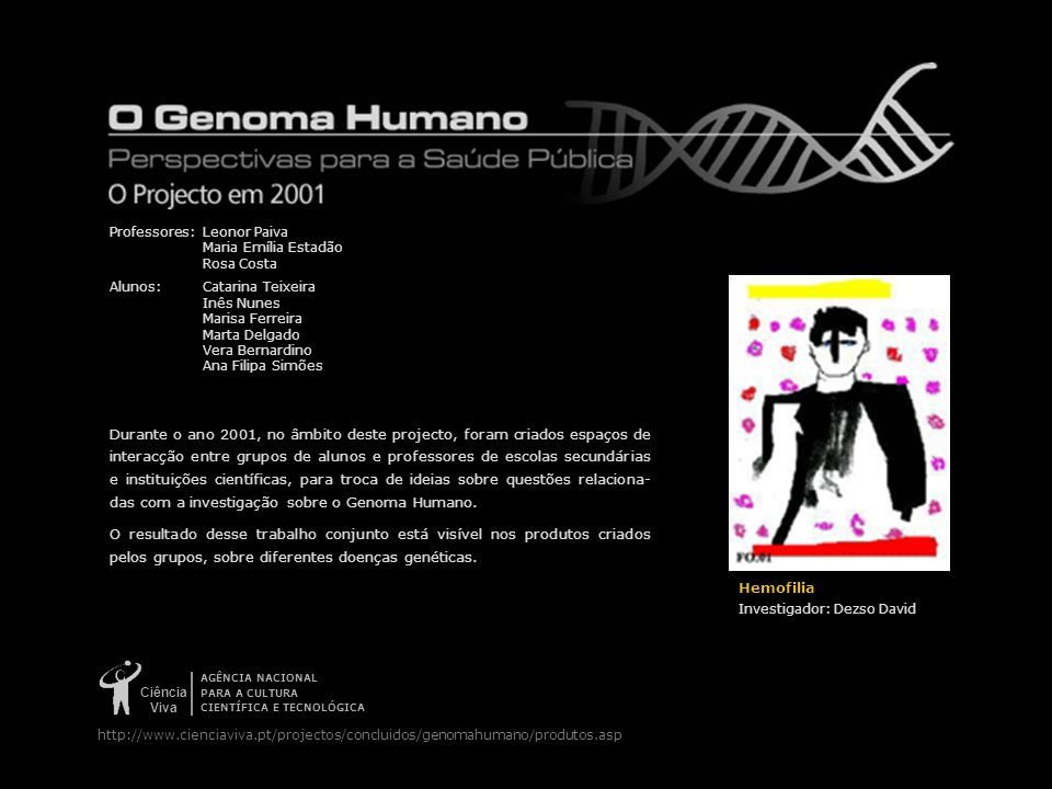 Ciência Viva AGÊNCIA NACIONAL PARA A CULTURA CIENTÍFICA E TECNOLÓGICA http://www.cienciaviva.pt/projectos/concluidos/genomahumano/produtos.asp Hemofil