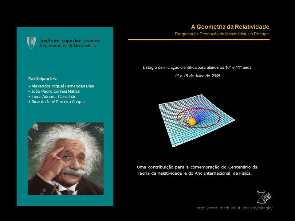 http://www.math.ist.utl.pt/cam/estagio/ A Geometria da Relatividade Programa de Promoção da Matemática em Portugal Estágio de iniciação científica par