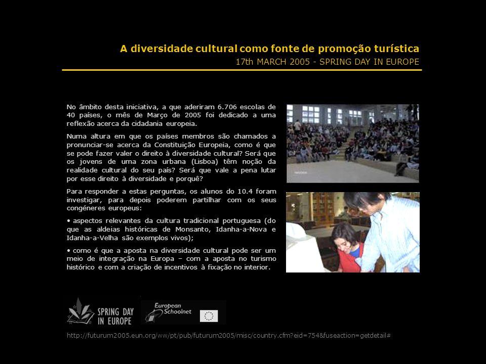 A diversidade cultural como fonte de promoção turística 17th MARCH 2005 - SPRING DAY IN EUROPE No âmbito desta iniciativa, a que aderiram 6.706 escola
