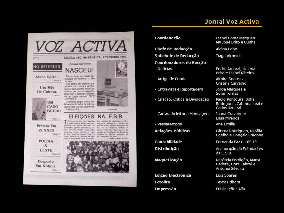 Jornal Voz Activa CoordenaçãoIsabel Costa Marques Mª José Brito e Cunha Chefe de RedacçãoAldina Lobo Subchefe de RedacçãoTiago Almeida Coordenadores d