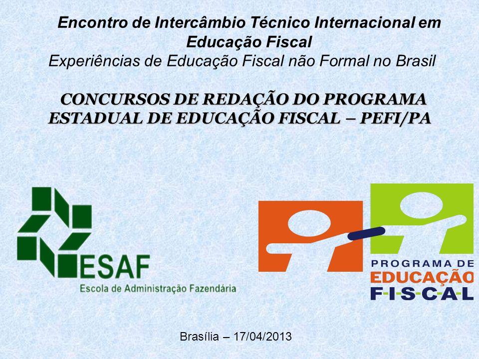 Encontro de Intercâmbio Técnico Internacional em Educação Fiscal Experiências de Educação Fiscal não Formal no Brasil CONCURSOS DE REDAÇÃO DO PROGRAMA