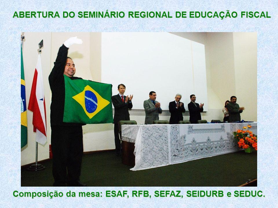 ABERTURA DO SEMINÁRIO REGIONAL DE EDUCAÇÃO FISCAL Composição da mesa: ESAF, RFB, SEFAZ, SEIDURB e SEDUC.