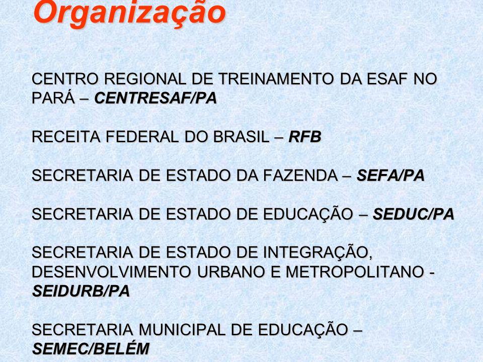 Organização CENTRO REGIONAL DE TREINAMENTO DA ESAF NO PARÁ – CENTRESAF/PA RECEITA FEDERAL DO BRASIL – RFB SECRETARIA DE ESTADO DA FAZENDA – SEFA/PA SE