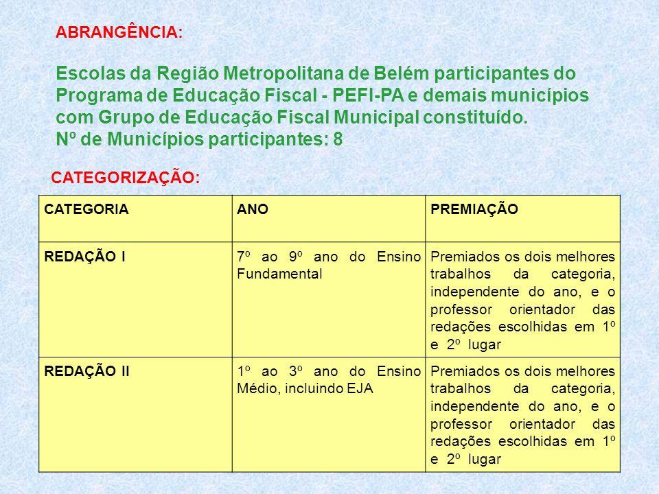 ABRANGÊNCIA: Escolas da Região Metropolitana de Belém participantes do Programa de Educação Fiscal - PEFI-PA e demais municípios com Grupo de Educação
