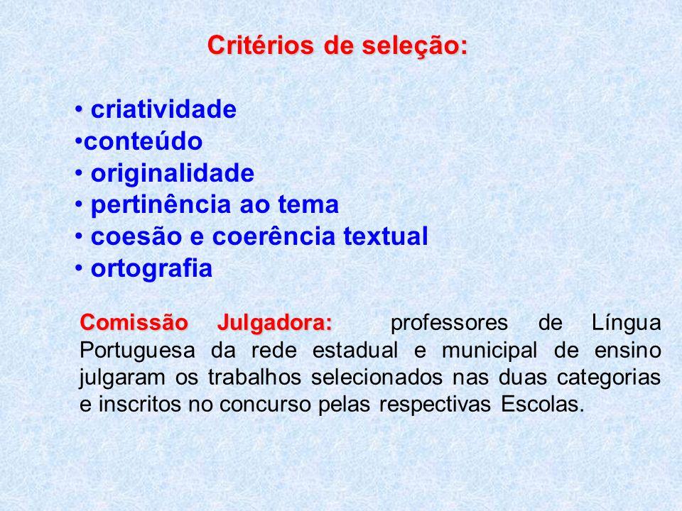Critérios de seleção: criatividade conteúdo originalidade pertinência ao tema coesão e coerência textual ortografia Comissão Julgadora: Comissão Julga